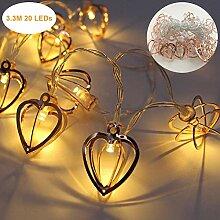 Metall Lichterkette, LED Herz Lichterkette Fairy