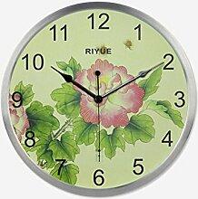 Metall Mute Wohnzimmer Wanduhr modischen Garten elektronische Glocke kreative große Blume Schlafzimmer Uhr Hause Uhr , silver