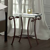 Metall Nachttisch in Braun mit Glasplatte