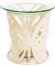 Metall Öllampe für Duftöl, cremefarben, Schmetterling Design