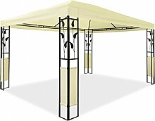 Metall Pavillon mit Ornamenten 3 x 4 m Blätter-Pavillon Stahlpavillon Gartenpavillon Creme