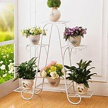 Metall-Pflanzen-Blumen-Zahnstange, Innen-Blumentopf-Zahnstange, europäischer Art-Balkon-Balkon-Ausstellungsstand-Größen-Farbe wahlweise freigestellt ( Farbe : Weiß , größe : 81.5*82.5cm )