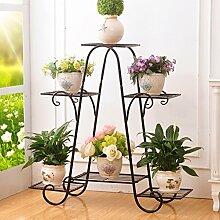 Metall-Pflanzen-Blumen-Zahnstange, Innen-Blumentopf-Zahnstange, europäischer Art-Balkon-Balkon-Ausstellungsstand-Größen-Farbe wahlweise freigestellt ( Farbe : Schwarz , größe : 81.5*82.5cm )
