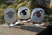 Metall Schafe zum Stellen 13 cm Schafbock Dekoration Handarbeit Figuren (Schwarz)