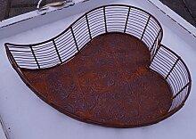Metall Schale Herz aus Drahtgeflecht Tischdekoration Rost Garten Terrasse