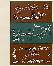 Metall Schild Rostoptik Garten- Fantasie 40x20cm Wandschmuck Gartendeko Tafel - 1 Stück (Engel, Elfen & Feen)
