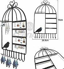 Metall Schmuck Ständer Display Vintage Organizer–Vogelkäfig Class Jewelry Kleiderbügel Haken Wandhalterung Aufhängen Ohrring Halter Halskette Schmuck Ständer Rack–Preis XES