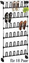 Metall Schuh-Garderobe praktische Tür-Garderobe Schuhregal für 18 Paar Schuhe für alle Türen mit und ohne Falz original Made for us
