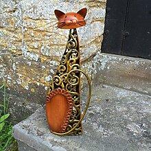 Metall sitzend Katze Skulptur/Statue/Figur/Ornament–Bronze & Gold Swirls–Indoor-/Outdoor Katze Figur–39cm