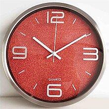 Metall stumm Uhr Wanduhr Salon Schlafzimmer Mode kreativ Moderne einfach Uhr Taschenuhr Quarz Dekoration 30.2cm Durchmesser ( farbe : # 1 )