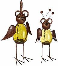 Metall Vogel mit Solarzelle LED Licht für den Garten oder Terrasse Deko