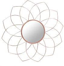 Metall Wandspiegel im Blumen Look Kupferfarben