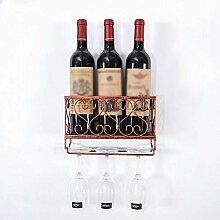 Metall Weinregal mit Flaschenhalter Wandmontierter