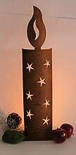 Metall Windlicht Kerze Rost Metall Lampe Feuer Fackel 61cm