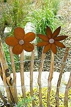Metall Zaun Blume zum Aufstecken Edelrost Blüte Dekoration Staketenzaun - Blüte spitze Form rechts am Zaun