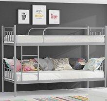 Metallbett DARVIN Silber Hochbett in zwei Einzelbetten teilbar