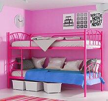Metallbett LADY Pink Hochbett in zwei Einzelbetten teilbar