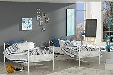 Metallbett LADY Weiß Hochbett in zwei Einzelbetten teilbar