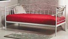 Metallbett Lattenrost Bettgestell Sofa Metallsofa Einzelbett Jugendbett BIRMA (Weiß)