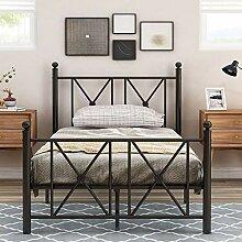 Metallbett mit Kopf- und Fußteil, Bett für