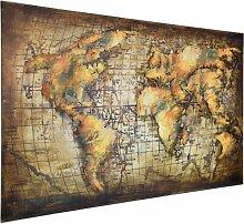 Metallbild Weltkarte