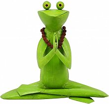 Metallfigur Metalldeko Yoga Frosch mit Kette