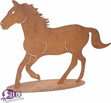 Metallfigur Pferd Edelrost auf Platte klein