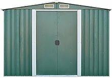 Metallgerätehaus Geräteschuppen Gartenschuppen Gartenhaus mit Satteldach 257 (B) x 205 (T)x 175 (H) cm (Grün) (Lieferung erfolgt nur innerhalb Deutschlands)