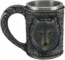 Metallic Tribal Celtic Zinn-Finish Becher grau