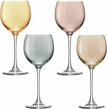 Metallics LSA Polka Weinglas, 400 ml, 4 Stück, 40cl Weingläser, farbig