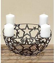 Metallkorb mit Kerzenhaltern 40cm Adven
