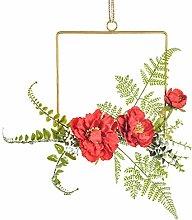 Metallkranzring mit künstlicher Pfingstrosenblume
