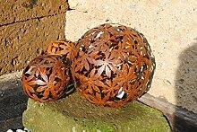 Metallkugel,Blumenmuster,Rosenkugel,Edelrost,hübsche Gartendeko,14cm
