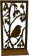 Metallmichl Edelrost Bild Vogel mit Hagebutten auf