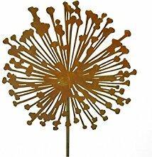 Metallmichl Edelrost Blumenstecker Allium 20 cm