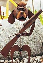 Metallmichl Edelrost Garten-Cavallero Hund mit