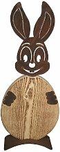 Metallmichl Edelrost Hase Christl mit Ei aus Holz