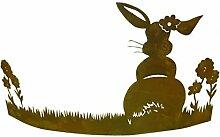 Metallmichl Edelrost Hase im Gras Aufsteller 46 cm
