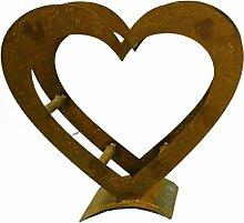 Metallmichl Edelrost Herz Holzregal aus rostigem