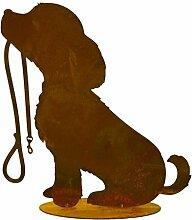 Metallmichl Edelrost Hund Rocki mit Leine 30 cm