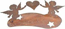 Metallmichl Edelrost Kerzenhalter 2 Engel mit Herz