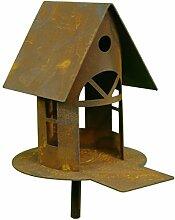 Metallmichl Edelrost kleines Vogelhaus mit Steg,