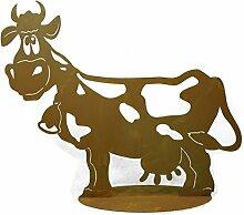 Metallmichl Edelrost Kuh Liselotte 60 cm lang auf