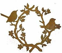 Metallmichl Edelrost Vögel mit Blütenkranz zum