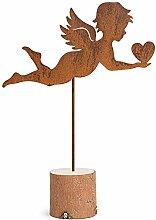 Metallmichl Engelskulptur Edelrost mit Herz groß