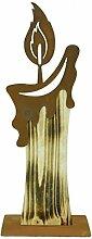Metallmichl - Holzkerze mit edelrost Flamme auf