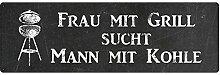METALLSCHILD Blechschild FRAU MIT GRILL SUCHT MANN