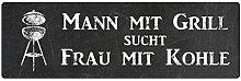 METALLSCHILD Blechschild MANN MIT GRILL SUCHT FRAU