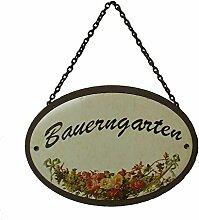 Metallschild Gartenschild Bauerngarten oval 18 x 5 cm zum Hängen Metall