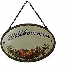 Metallschild Gartenschild Willkommen oval 18 x 5 cm zum Hängen Metall